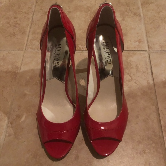 MICHAEL Michael Kors Shoes - Michael Kors Red Peep Toe Heels